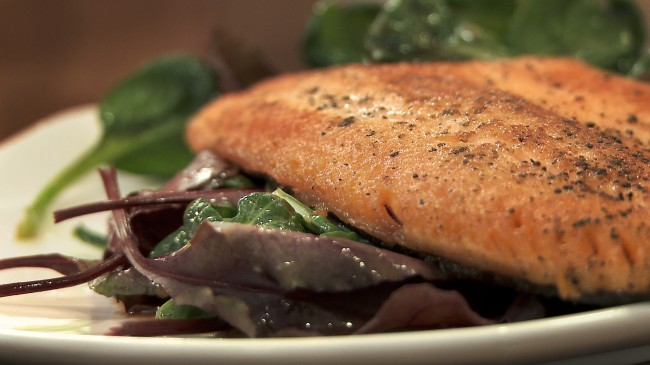 Seared Sunburst Trout Fillet on Wilted Greens | Flavor, NC