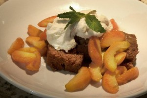 Old Mill Gingerbread with Grand Marnier and Peaches