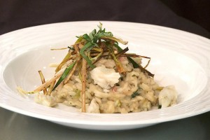 Risotto with Crab Meat, Pancetta, Marscapone and Leeks