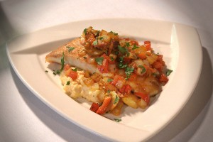 Sautéed Flounder with Old Mill of Guilford Grits, Sweet Red Peppers, Mushrooms, and Onions