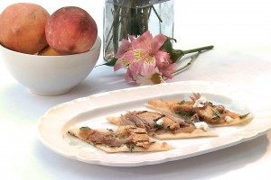 Grilled Flatbread & Peaches with Preserved Duck…