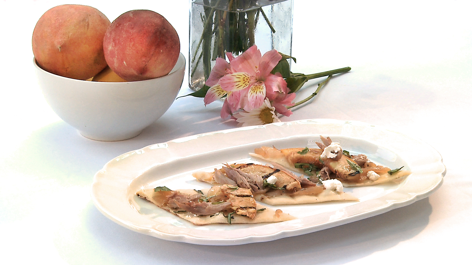 Flatbread & Peaches with Preserved Duck, Caramelized Onion, Goat ...