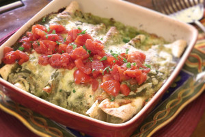 Cheesy Green Chile Chicken Enchiladas