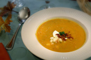 Roasted Butternut Bisque with Apple and Bacon