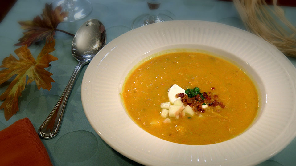 Roasted Butternut Bisque with Apples and Bacon | Flavor, NC