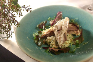 Whole-Roasted Striped Bass with Lemon-Herb Risotto