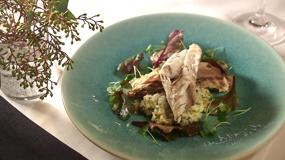 Whole-Roasted Striped Bass with Lemon-Herb Risotto | Flavor, NC