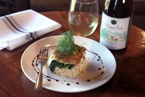 Crusted Spanish Mackerel with Coconut Risotto, Wilted Spinach & Chimmichurri Sauce