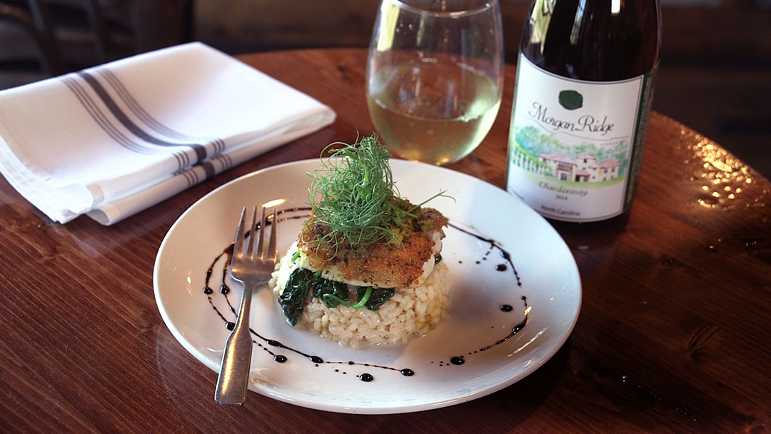 Flavor, NC | Crusted Spanish Mackerel with Coconut Risotto, Wilted Spinach & Chimmichurri Sauce