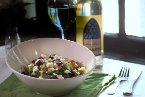 Roasted Villard Blanc Vinaigrette on Summer Chopped Salad