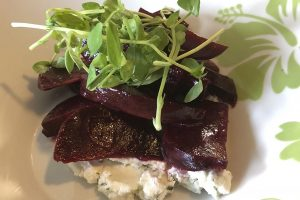 Roasted Beet Salad with Herbed Goat Cheese and a Dijon Vinaigrette