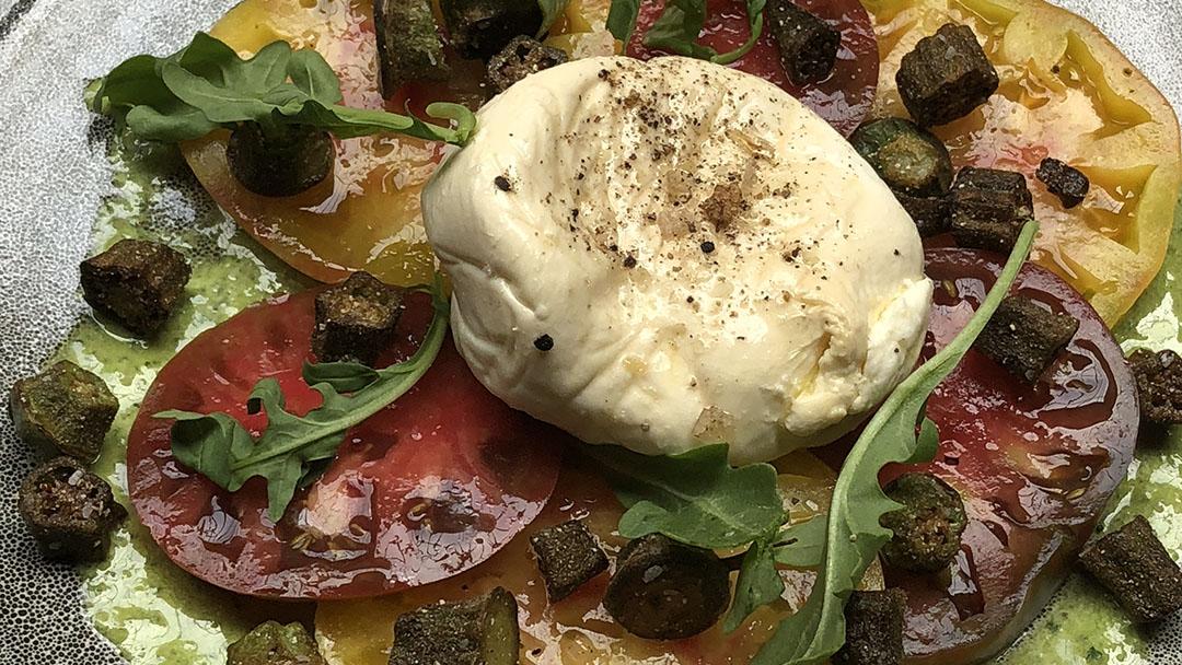 Flavor, NC | Tomato and Smoked Buratta Salad with Fried Okra