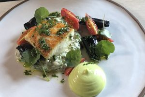 Seared Halibut, Sugar Snap Remoulade, Fava Bean Agnolotti & Basil Aioli