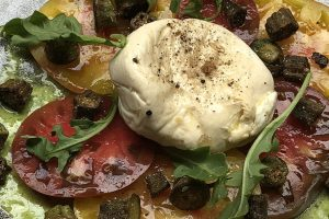 Tomato and Smoked Buratta Salad with Fried Okra
